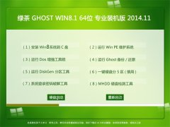 绿茶 GHOST WIN8.1 64位 专业装机版 2014.11